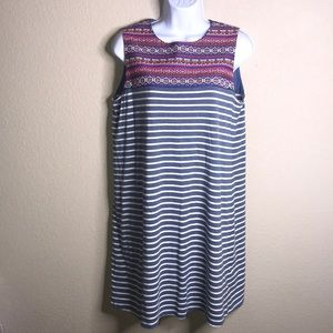 THML embroidered, striped, sleeveless dress, M